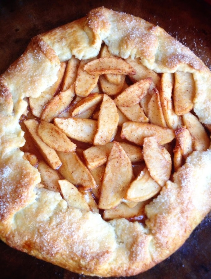 Apple Galette with Whiskey Salted Caramel Sauce