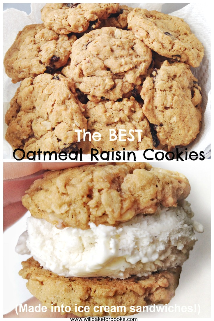 The Best Oatmeal Raisin Cookies (made into ice cream sanwiches!) | Will Bake for Books