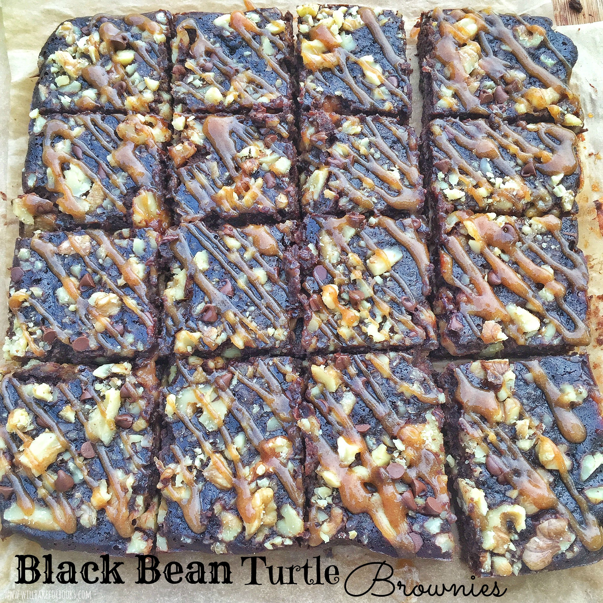 Black Bean Turtle Brownies on www.willbakeforbooks.com
