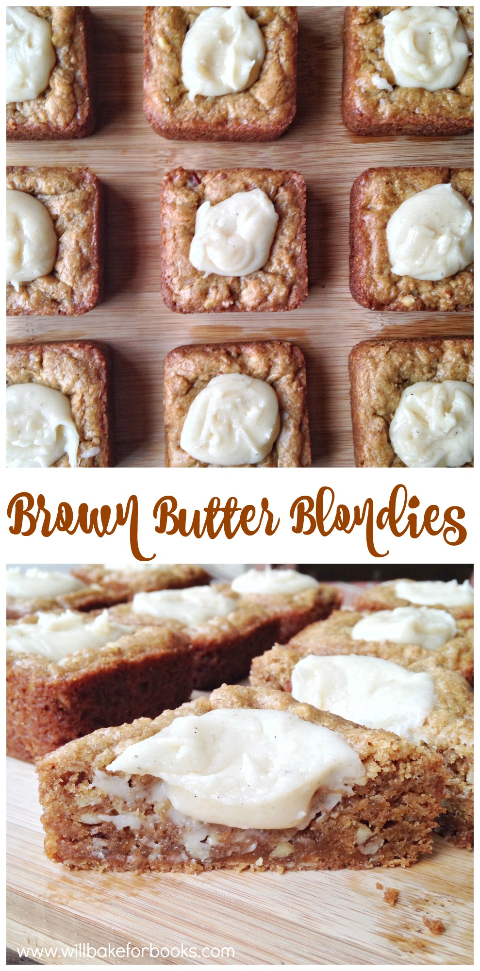 Brown Butter Blondies with Brown Butter Frosting on willbakeforbooks.com