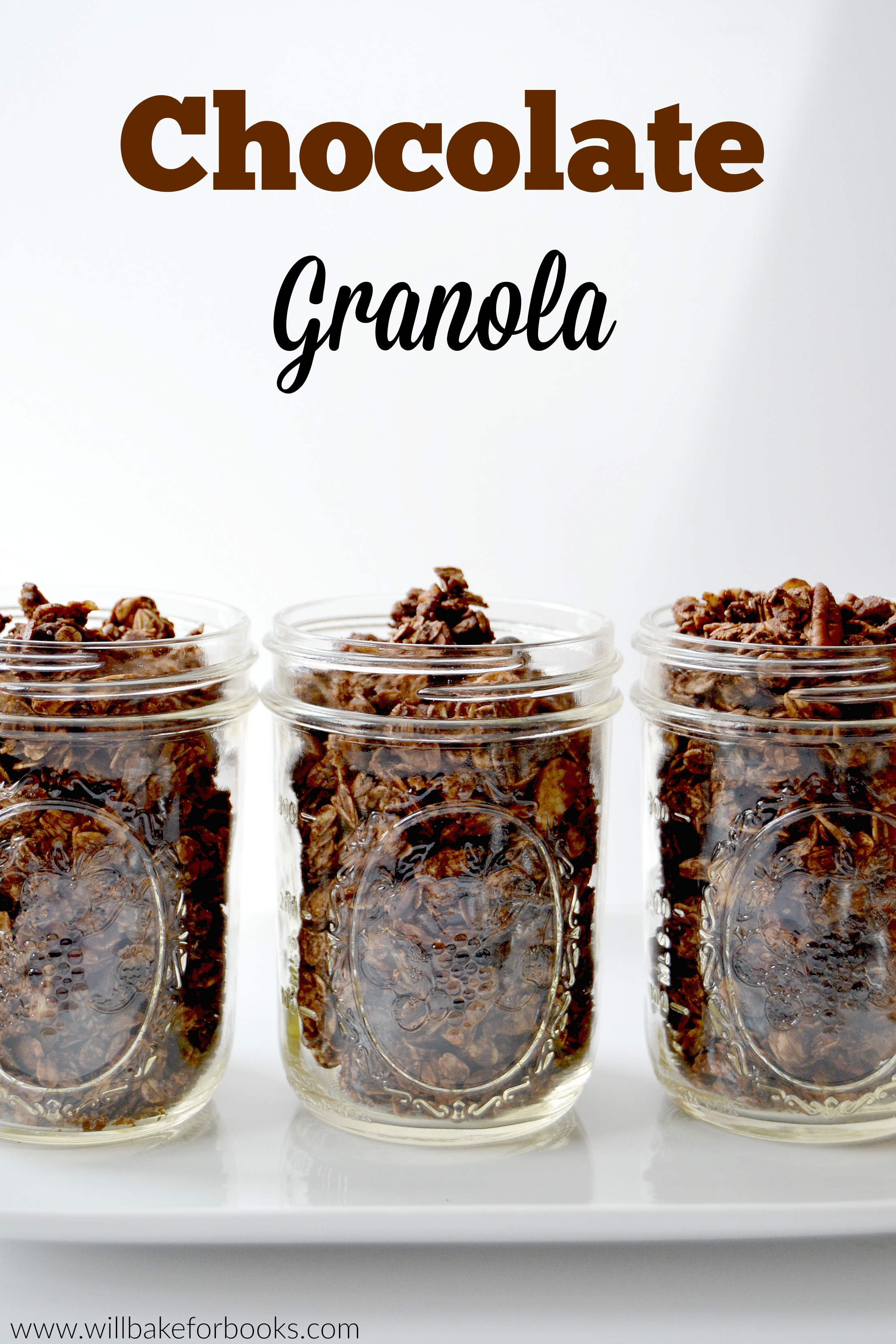 Chocolate Granola | Recipe on willbakeforbooks.com!