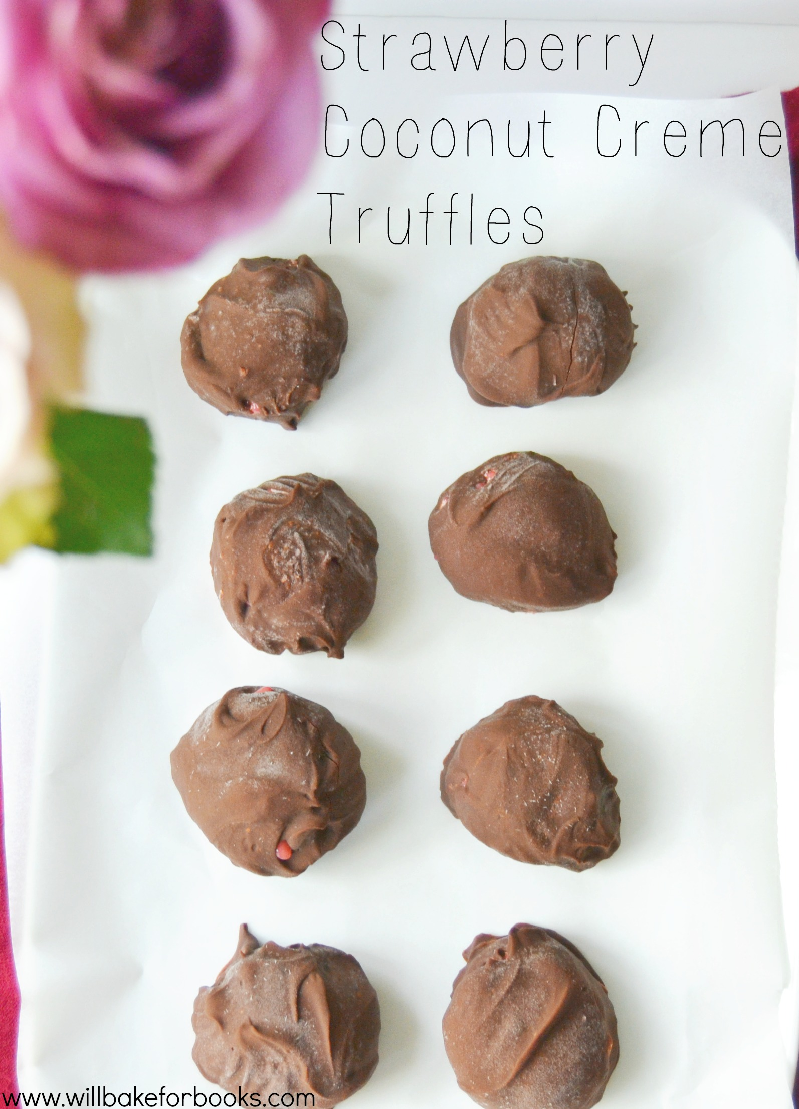 Simple Strawberry Coconut Creme Truffles | Find the recipe on willbakeforbooks.com! #vegan #glutenfree #grainfree #paleo