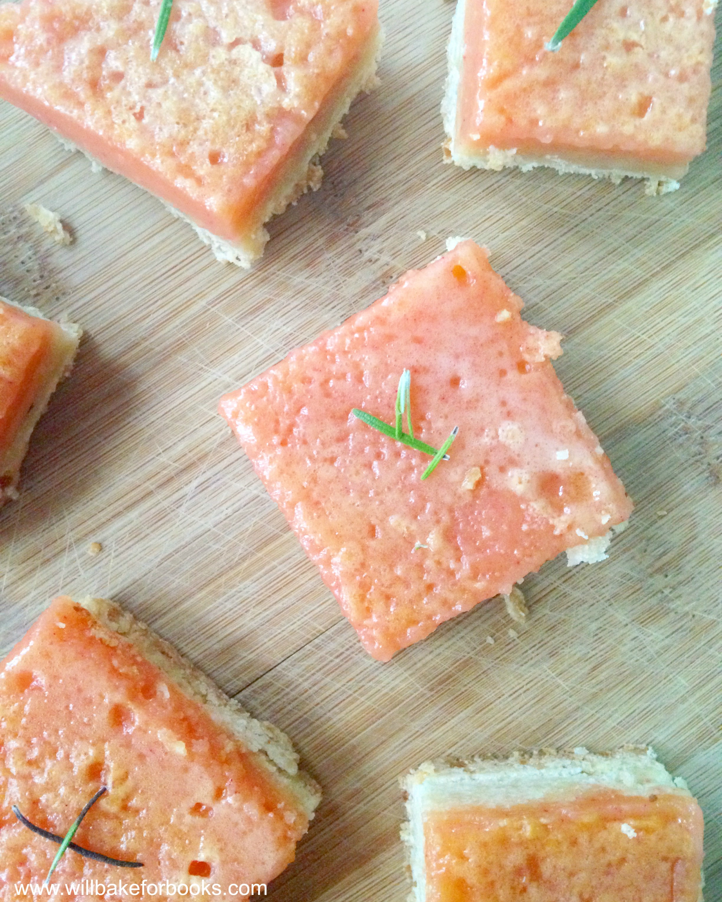 Pink Grapefruit Bars with Rosemary Crust on willbakeforbooks.com
